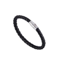 Pulsera cuero trenzado 6 mm y cierre de acero - Color negro