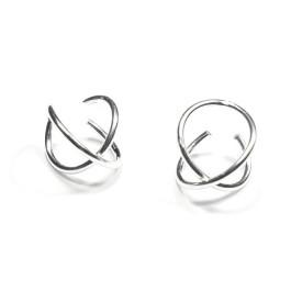 Pendiente de Cartilago earcuff en plata de ley - Aros cruzados - 1 ud