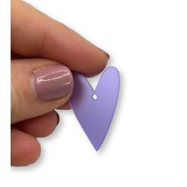 Plexy morado - Colgante corazon pico 28x20 mm, int 1.5 mm