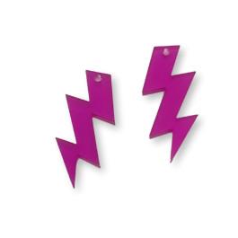 Plexy fucsia - Colgante rayo triple 30 mm, int 1.5 mm