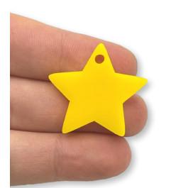 Plexy amarillo limon - Colgante estrella 28 mm, int 1.5 mm
