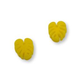 Plexy amarillo limon - Colgante hoja tropical mostera mini 10x8 mm, int 1 mm
