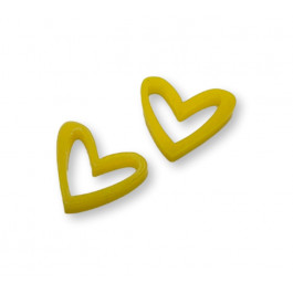 Plexy amarillo limon - Colgante corazon hueco 16x17.5 mm, int 1.2 mm