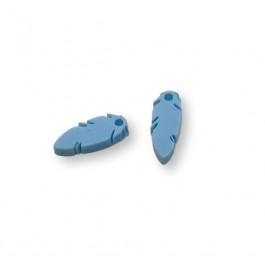 Colgante mini pluma azul pastel 10x4 mm - 1 unidad