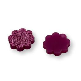 Plexy fucsia glitter - Colgante mini flor 15 mm - 1 unidad