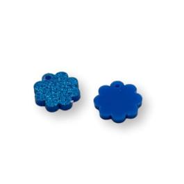 Plexy azul glitter - Colgante mini flor 15 mm - 1 unidad