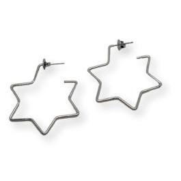Aros abiertos estrella 40 mm - Pendientes de acero plateado (1 par)