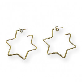 Aros abiertos estrella 40 mm - Pendientes de acero dorado (1 par)