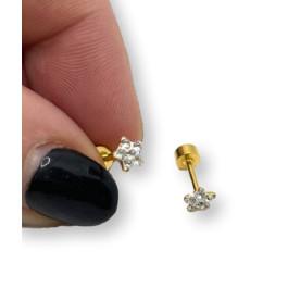 Estrella 5 mm circonitas blancas con cierre de rosca - Pendientes acero inoxidable dorado - 1 par
