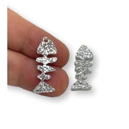 Plexy plata glitter - Colgante raspa pescado 21x9 mm, int 1.2 mm