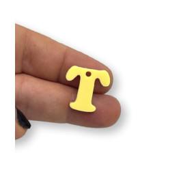 Letra T - Plexy amarillo pastel - Colgante letra inicial abecedario 18 mm, taladro 1.5 mm