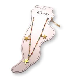 Tres estrellas y cadena con bolitas de esmalte - Tobillera  Acero inoxidable dorado - 23 cm + extendedora