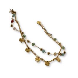 Pulsera acero dorado con treboles y piedras multicolor - 17 cm +  extension