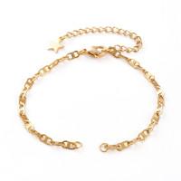 Base de pulsera acero dorado 16 cm con cadenita extendedora y estrella