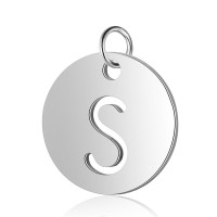 Moneda inicial letra S- Acero inoxidable plateado 12 mm con anilla