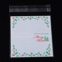 Bolsa Navidad celofan 14x9.9 cm solapa adhesiva - Modelo hojas y bayas