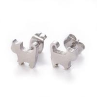 Gatos 8x8 mm- Pareja pendientes acero plateado