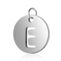 Moneda inicial letra E- Acero inoxidable plateado 12 mm con anilla