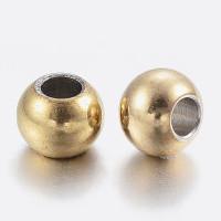 10 uds - Bola de acero dorado inoxidable 4 mm Taladro 1.5 mm