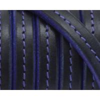 Cuero palote cosido bicolor 10X4,5 mm violeta-negro 20 cm