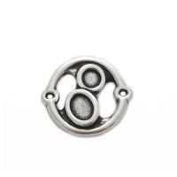 Conector cristales Zamak baño de plata 27x24 mm, int 2 mm