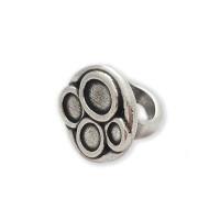 Base anillo Zamak baño plata para 4 cristales