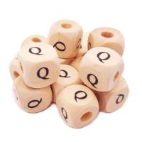 Cubo madera natural alfabeto 11x11 mm, letra Q (calidad alemana)