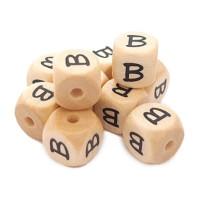 Cubo letra madera carvada Premium 10x10 mm (TIMES) - Letra B