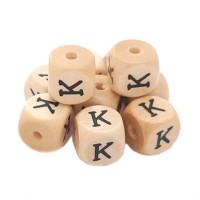 Cubo letra madera carvada Premium 10x10 mm (TIMES) - Letra K