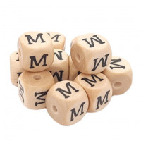 Cubo letra madera carvada Premium 10x10 mm (TIMES) - Letra M