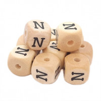 Cubo letra madera carvada Premium 10x10 mm (TIMES) - Letra N