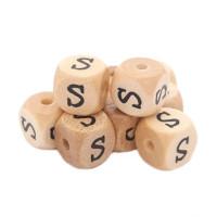 Cubo letra madera carvada Premium 10x10 mm (TIMES) - Letra S