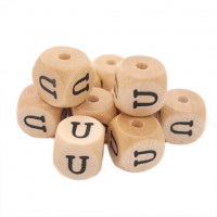 Cubo letra madera carvada Premium 10x10 mm (TIMES) - Letra U