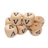 Cubo letra madera carvada Premium 10x10 mm (TIMES) - Letra V