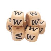 Cubo letra madera carvada Premium 10x10 mm (TIMES) - Letra W