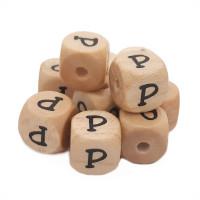 Cubo letra madera carvada Premium 10x10 mm (TIMES) - Letra P