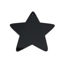Plexy negro - Estrella grande 60x60 mm, int 2.5 mm ( grabar)