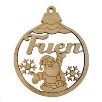 Bola con Papá Noel de Navidad 8 cm nombre personalizado POR ENCARGO  (15 días aprox)