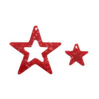 Set 2 pcs estrellas plexy 36 y 15 mm - Rojo mosaico
