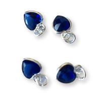 Colgante Plata de Ley y Circonitas - Corazon mini 7x5 mm (Azul sapphire)