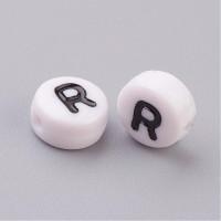 Abalorio redondos abecedario blanco 7 mm (20 uds) LETRA R