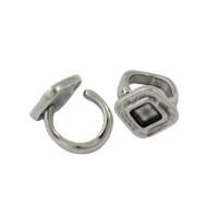 Base anillo Zamak baño de plata 18x18 mm para cristal 8x8 mm