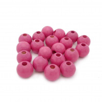 Bolsita 20 bolitas de madera antibaba 8 mm - Color Magenta 27