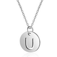 Inicial letra U - Gargantilla acero plateado moneda inicial 12 mm, 40 +5 cm largo