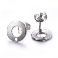 Pendientes acero inoxidable plateado circulo 10 mm - 1 par