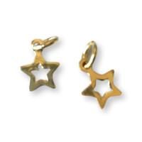 Colgante Plata de Ley baño de oro  - Estrella hueca 6 mm