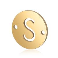 Letra S - Entrepieza inicial acero dorado 12 mm, int 0.8 mm