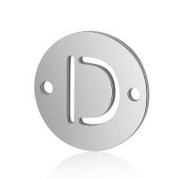 Letra D - Entrepieza inicial acero plateado 12 mm, int 0.8 mm