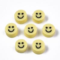 Abalorios fimo moneda sonrisa smiley amarillas 5x4 mm - 25 uds