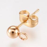 Pareja base bola pendiente acero dorado 4  mm para colgar (4 uds- 2 pares)